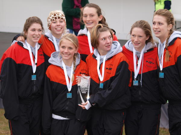 The Harbor Springs girls' cross country team won the Division IV girls title Saturday at the Portage Invitational. Team members are (from left) Rhi Cullip, Betsey Simons, Jessica Worm, Claire Fleming, Salix Sampson, Autumn Kihnke and Kaitlyn Alessi.