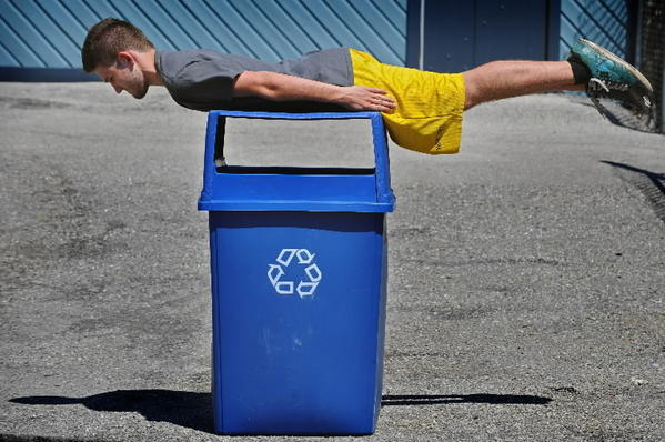 "No, high schoolers aren't weird or actually recyclable. But this ""planking"" demonstration helps make the point that other uses can be found for all kinds of unwanted clutter."