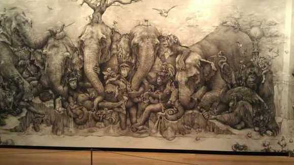 "Detail from the huge ""Elephants"" mural by Burbank artist Adonna Khare."
