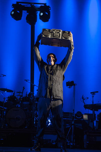 "Peter Gabriel hoists a boombox that actor John Cusack presented him at the Hollywood Bowl on Oct. 6 for the song ""In Your Eyes."""
