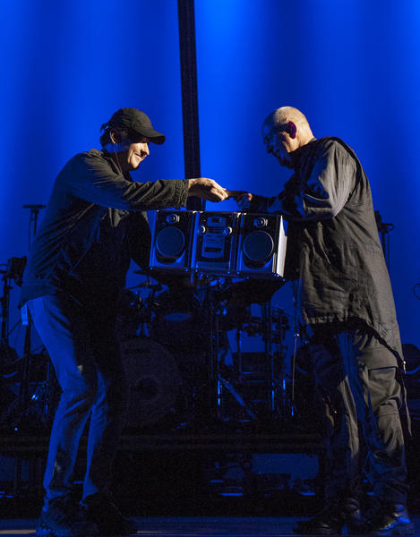 "John Cusack presents Peter Gabriel with a boombox at the Hollywood Bowl on Oct. 6 for the song ""In Your Eyes."""