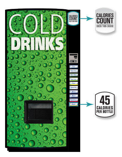 A new soda vending machine that will allow customers to see the calorie counts on selection buttons.