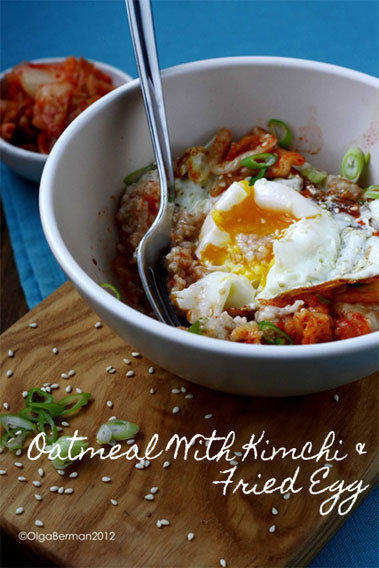 Oatmeal with kimchi and fried egg made by Olga Berman of the blog Mango & Tomato.