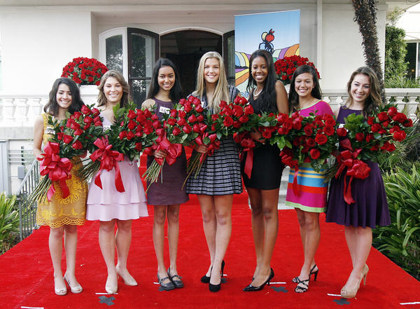The Tournament of Roses 2012 Royal Court on Monday, October 8, 2012. The Rose Princesses, from left, are Vanessa Manjarrez, of Mayfield Senior School; Madison Teodo, of La Canada High School; Sonia Shenoi, of San Marino High School; Kathryne Benuska, of Maranatha High School; Nicole Nelam, of Pasadena High School; Tracy Cresta, of La Salle High School; and Victoria McGregor, of Flintridge Sacred Heart Academy.