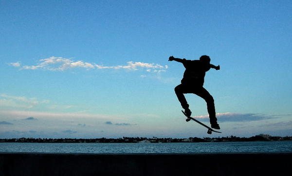 A young man romps on his skateboard in West Palm Beach.
