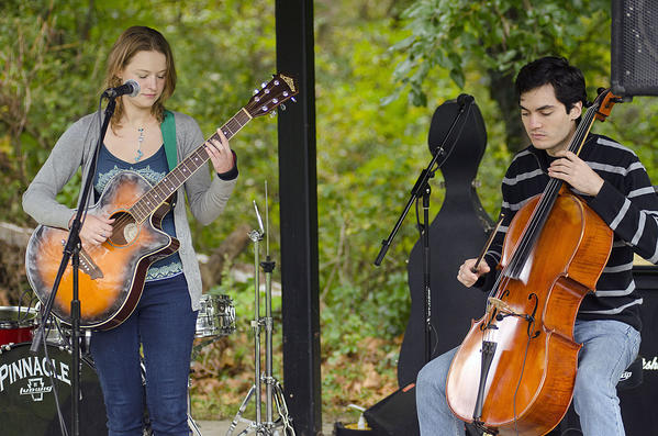 Laurel, Maryland 10/7/12 Photo by Nicole Martyn Wanda Perkins, of Monrovia, and Ethan Foote of Washington, D.C., kick off Laurel's Riverfest with a performance by their band, Wind Divine. The Laurel Board of Trade's annual Riverfest took place in Laurel's Riverfront Park Sunday October 7, 2012.