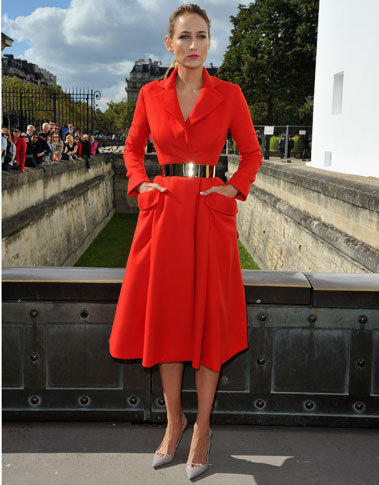 Leelee Sobieski arrives at the Christian Dior spring-summer 2013 show as part of Paris Fashion Week on Sept. 28.