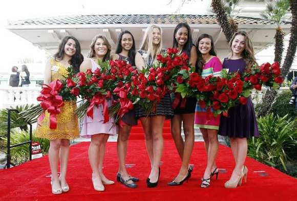 The Tournament of Roses 2013 Royal Court. From left: Vanessa Manjarrez; Madison Teodo; Sonia Shenoi; Kathryne Benuska; Nicole Nelam; Tracy Cresta; and Victoria McGregor.
