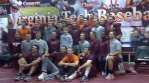 Virginia Tech baseball team shaves heads for childhood cancer