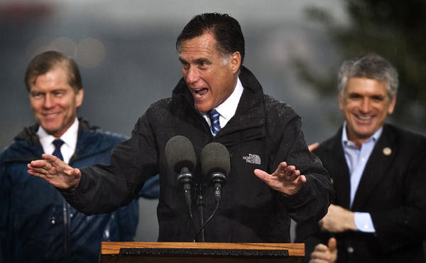 Gov. Mitt Romney attended a Victory Rally at Victory Landing Park in Newport News this afternoon in the rain. Gov. Bob McDonald, Gov. Mitt Romney and Scott Rigell.