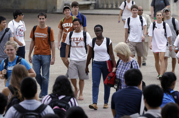 Students walk through the University of Texas at Austin campus. This giant flagship campus -- once slow to integrate -- is now among the most diverse the country.