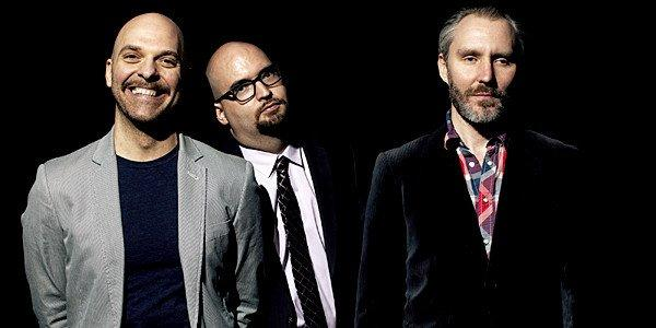 Photo of the band The Bad Plus. L-R: Dave King, Ethan Iverson, Reid Anderson