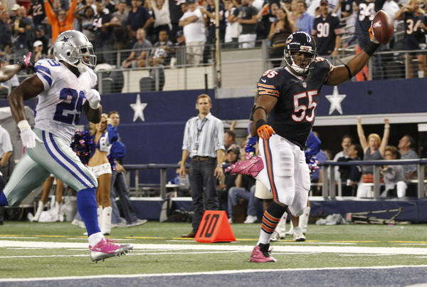 Lance Briggs racked up one of the Bears' five interceptions against Cowboys QB Tony Romo, much to the delight of the thousands of Bears fans in Big D. RECORD: 3-1