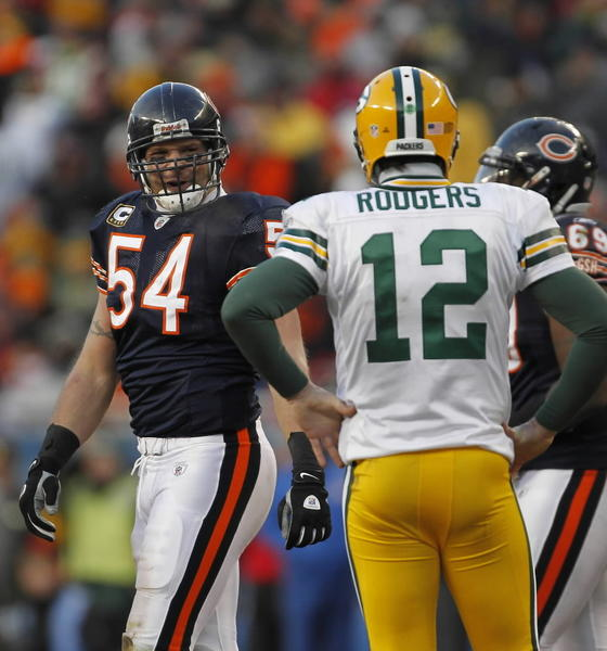 Oh, Brian Urlacher will get another shot at Aaron Rodgers and the Pack this season. And like the rest of the Bears, the middle linebacker will be seeking redemption.