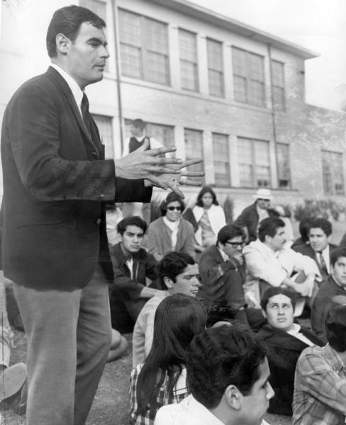 Lincoln High School teacher Sal Castro joins a Latino student walkout in 1968.