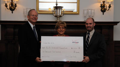 The Allegany College of Maryland received $2,500 from Verizon through the Education Improvement Tax Credit fund. From left, Verizon State Government Relations Director Frank P. Buzydlowski, Director of Somerset County Campus Debra Hoover, and state Rep. Carl Walker Metzgar, R - Allegheny.