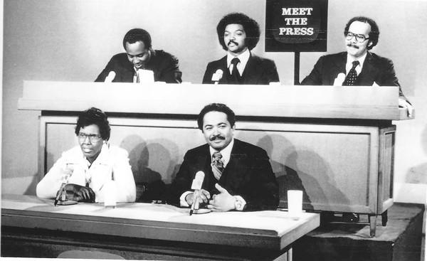 "Mervyn Dymally was the first African American to hold partisan statewide office in California; he served in both houses of the Legislature and the House of Representatives. He is shown above in the front row on the right appearing on ""Meet the Press"" in 1976 when he served as California's lieutenant governor."