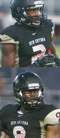 New Smyrna Beach players James Clark (2) and Davarez Bryant (9) will visit Purdue this weekend (Oct. 13).
