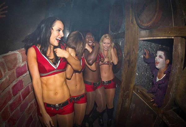 The Tampa Bay Buccaneers cheerleaders braved the scares of Howl-o-Scream at Busch Gardens Tampa Bay in 2011.