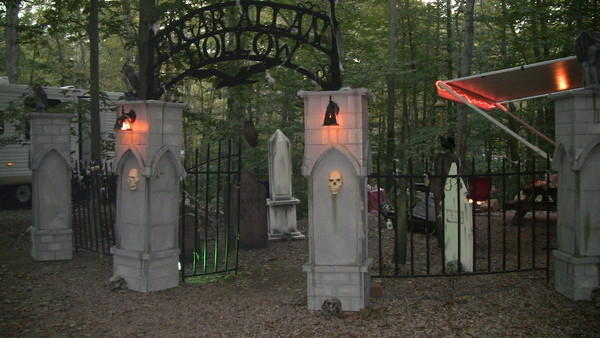This home-made graveyard was transported to Nelson's Campground to decorate our camp site on Columbus Day Weekend for their early Halloween celebration. Everything is back home in my front yard now. (But the lit camper awning is NOT part of the current display!)