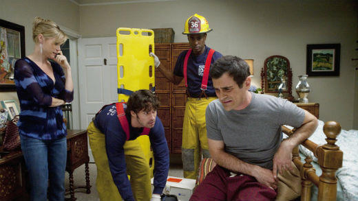 The firefighters in this California town as so hot that Phil Dunphy (Ty Burrell) would rather suffer the pain of kidney stones than call the paramedics. But Claire (Julie Bowen) decides he needs urgent help -- and dresses up for the rescue team.