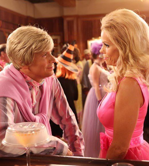 'Happy Endings' and more: Halloween on TV 2012: When Tessa convinces Dalia and the KKK (Kimantha, Kaitlyn and Kenzie) to come up with feminist inspired Halloween costumes, she finds herself the interest of the infamous East Chatswin witch (aka Paula), played by guest star Rachel Dratch. As it turns out Paula isnt exactly what she seems. Meanwhile George and Noah dress up as each other, and Dallas invites George to be Ken to her Barbie -- but he declines, not realizing that she is asking him out.   Airs: Wednesday, Oct. 24, 9:30 ET/PT on ABC.