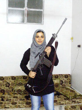 Hanadi, a member of the Free Syrian Army, gave up law school to join protests against Syrian President Bashar Assad.
