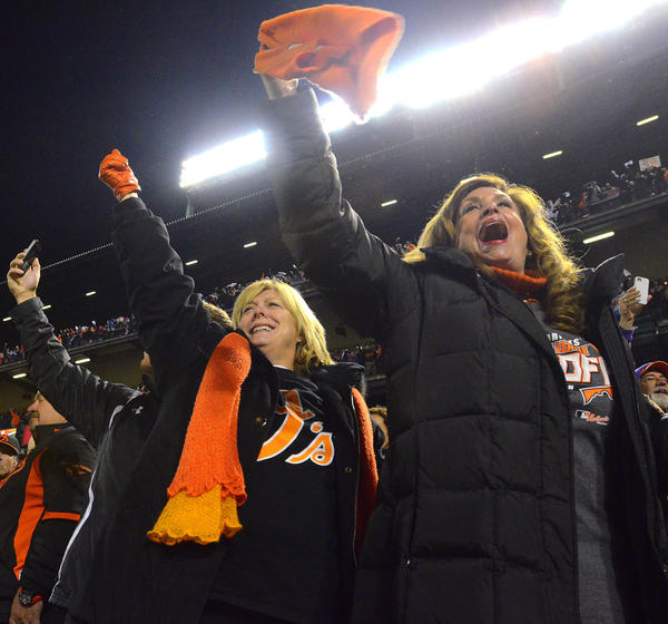 Baltimore fans cheer the final out Monday in the Orioles 3-2 win over the New York Yankees.