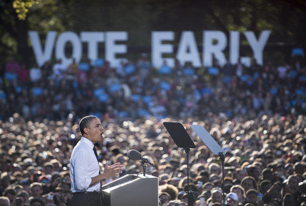 President Obama speaks during a campaign event at Ohio State University in Columbus
