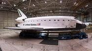Panorama: Space shuttle Endeavour in the United hangar at LAX