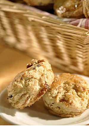"Make these light and flaky biscuits ahead of time, flavoring the dough with maple syrup and crumbled bacon. Better make a double-batch -- these babies go quickly! <a href=""http://www.latimes.com/features/la-fo-breakfastrec20b-2008aug20,0,757783.story"">Click here for the recipe.</a>"