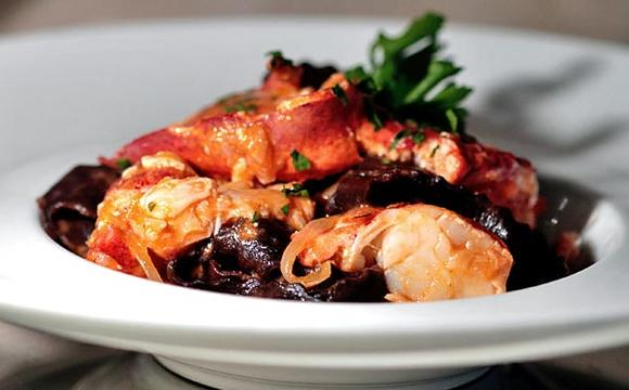 Chocolate fettuccine with lobster ragu.