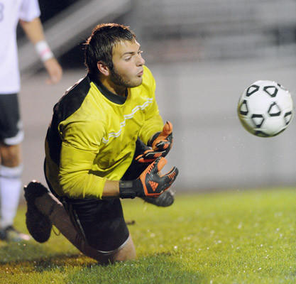 Northampton's goalie Kory DeCesaris makes a stop against Parkland High School during their soccer game Tuesday night.
