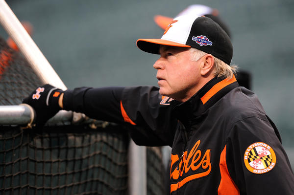 Orioles manager Buck Showalter looks on during batting practice prior to Game 2 of the American League Division Series against the New York Yankees.