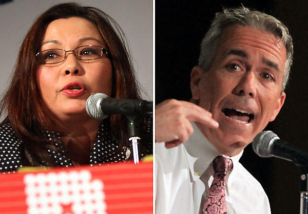 U.S. Rep. Joe Walsh and Democratic challenger Tammy Duckworth in Rolling Meadows.