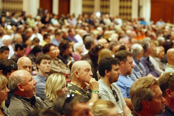 A large crowd gathers to listen to the U.S. Nuclear Regulatory Commission panel of speakers discuss the future of the San Onofre Nuclear Generating Station during a public meeting at the St. Regis Monarch Beach hotel in Dana Point.
