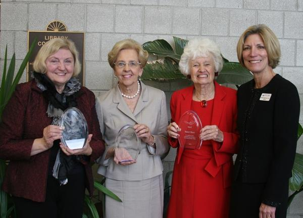 Longtime supporters of North Central Michigan College were honored Tuesday for their years of support. (From left) Founders Society inductees include Joan Kleinstiver and Marion Kuebler. Florence Wells accepted the award for her late brother, Robert Blanz. They were joined by college president Cameron Brunet-Koch.