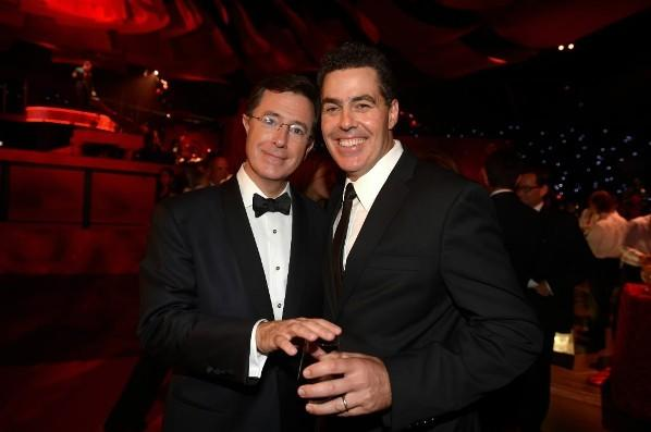 Comedian Adam Carolla (right) and TV personality Stephen Colbert (left) attend the Emmy Awards Governors Ball at Nokia Theatre L.A. Live September 23, 2012 in Los Angeles.