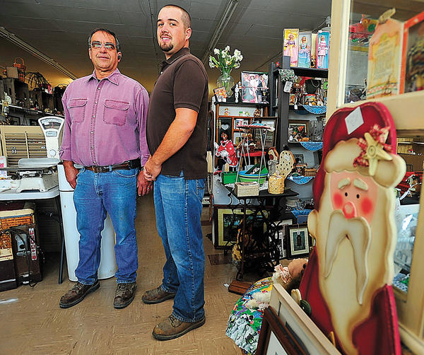 Wayne Lehman, left, and his son, Delmer Lehman, opened Olde Time Treasures LLC at 13617-B Pennsylvania Ave. in Hagerstown, on May 1.