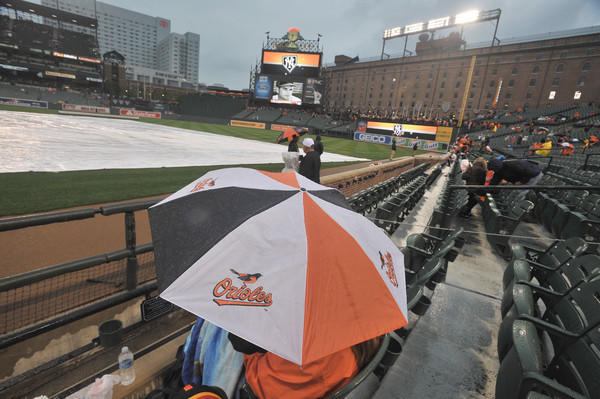 At 5:30 a heavy, but brief shower hit Camden Yards causing the tarp to be installed.