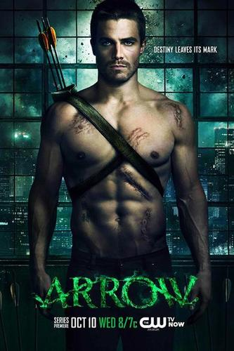 "This ""Arrow"" poster pretty much sums up the character Stephen Amell is playing: tough, scarred and sexy."