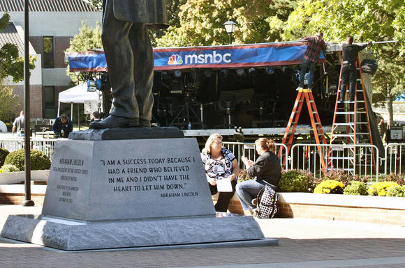 Work takes place Tuesday on the stage for MSNBC in front of Crounse Hall on the Centre College campus.