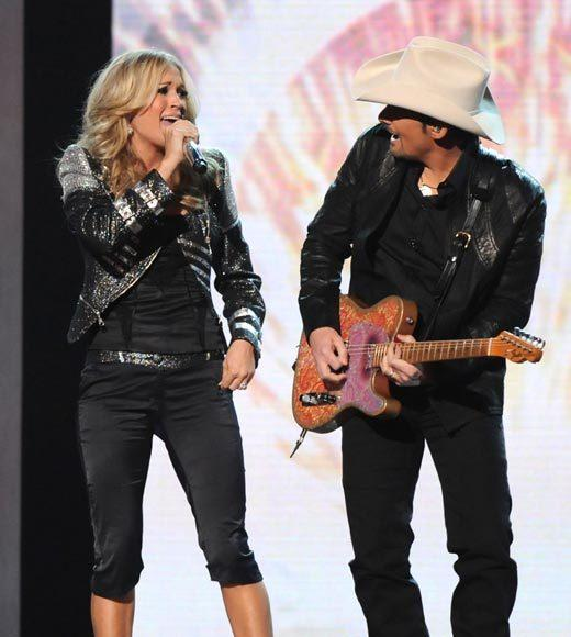 "Kix Brooks featuring Joe Walsh, ""New To This Town""<BR> Kenny Chesney and Tim McGraw, ""Feel Like A Rock Star""<BR> Brad Paisley featuring Carrie Underwood, ""Remind Me"" (pictured)<BR> Rascal Flatts featuring Natasha Bedingfield, ""Easy""<BR> Zac Brown Band featuring Jimmy Buffett, ""Knee Deep"""