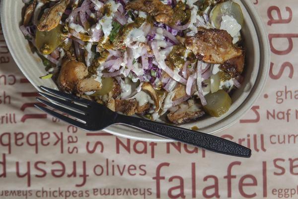 Chicken shawarma bowl at Naf Naf Grill