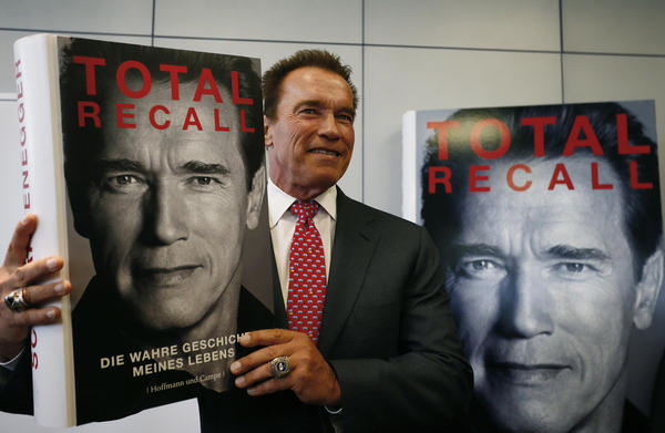 Arnold Schwarzenegger presents his book 'Total Recall' during a news conference during the book fair in Frankfurt.
