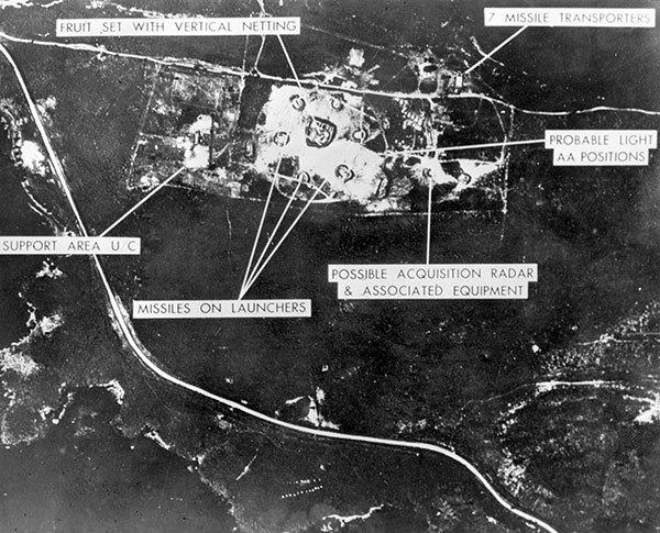 Aerial view of one of the Cuban medium-range missile bases, taken October 1962. On 22 October, Kennedy said Russia had missile sites in Cuba and imposed an arms blockade. During a week, the two super-powers were head-to-head in their game of nuclear poker while the rest of the world watched, fascinated, but hardly daring to breathe in case one of the players made a fatal mistake. On 28 October, M. Khrushchev promised that the Russian missiles based in Cuba would be dismantled. In return, Kennedy promised that the US would not invade Cuba and would lift their blockade.