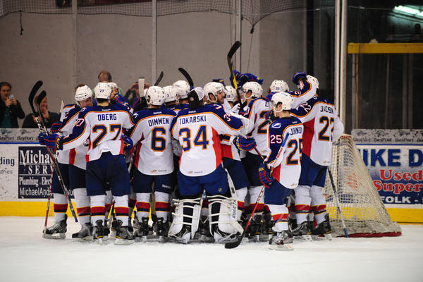 The Norfolk Admirals celebrate their 22nd consecutive win - this one coming against the St. John's IceCaps on Friday, March 30, 2012.