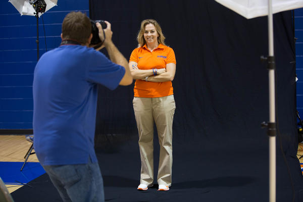 Amanda Butler, head coach of University of Florida women's basketball team, has a photo shoot with Orlando Sentinel photographer at UF Basketball Complex on Wednesday, Oct 10, 2012.