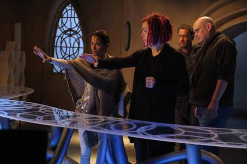 "Halle Berry, director Lana Wachowski, Tom Hanks and director Andy Wachowski on the set of ""Cloud Atlas."""