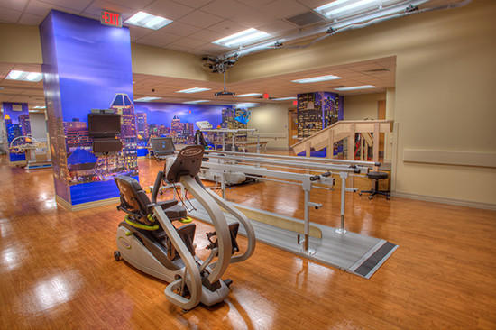The gym at Sinai Hospital's new rehab center for patients with brain injuries